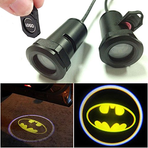 CHAMPLED for Batman Car LED Laser Projector Illuminated Emblem Under Door Step Courtesy Light Lighting Symbol Sign Badge Glow Replacement Logo Film Auto Acessories