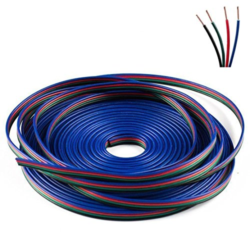 SUPERNIGHT 10m 32 ft 4 Pin Extension Cable Wire for RGB LED Strip Lights and Printer 3D Printers -- 4 Pieces Pack