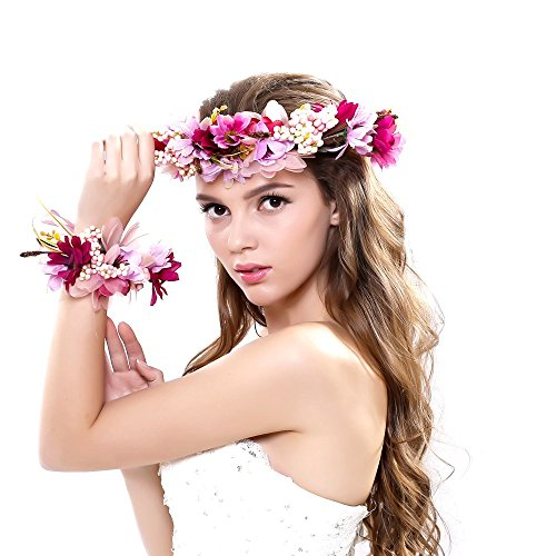 Ever Fairy 2pc/set Flower Wreath Garland Headband and Wrist for Wedding Festivals, Purple, One Size - Gold Hawaiian Flower
