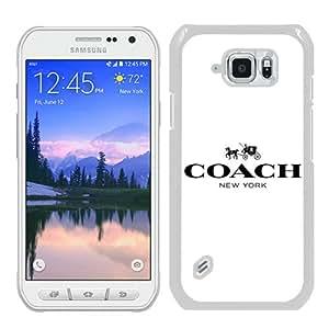 Popular Samsung Galaxy S6 Active Cover Case ,Coach logo White Samsung Galaxy S6 Active Case Newest And Unique Designed Phone Case