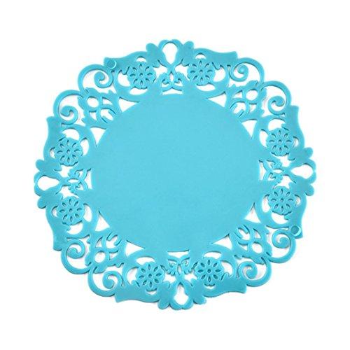 Goodlock PVC Coaster Mat Pad Cushion GoodLockDrinks Tea Cup Tableware Placemat Decoration (Blue)
