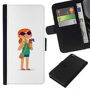 A-type (Redhead chica aventura Historieta blanco) Colorida Impresión Funda Cuero Monedero Caja Bolsa Cubierta Caja Piel Card Slots Para HTC DESIRE 816