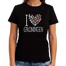Idakoos I love Groningen colorful hearts - Ciudades Del Mundo - Playera Mujer