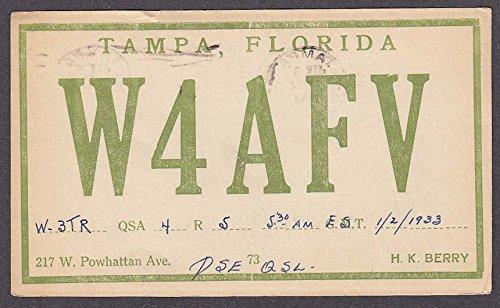 W4AFV H K Berry 217 W Powhattan Ave Tampa FL QSL postcard - Ave Tampa