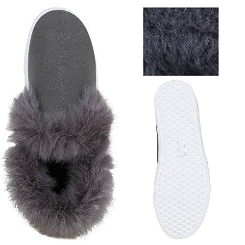 8a469ba731efb0 ... Stiefelparadies Gefütterte Damen Stiefeletten Outdoor Boots Fell  Stiefel Flandell Grau