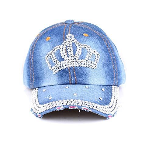 and Winter Ladies Fashion Hip Hop Hat with Diamond Crown Visor Outdoor Denim Sun Hat Leisure Adjustable Cap (Color : 1)