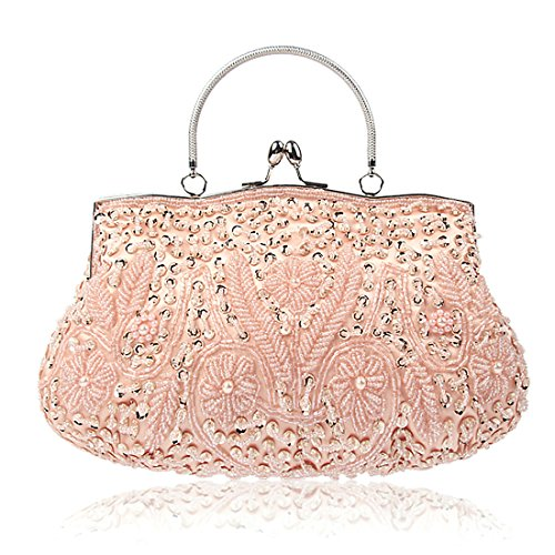 KNUS Beaded Sequin Design Evening Bag Wedding Party Handbag Large Clutch Purse (Pink) -