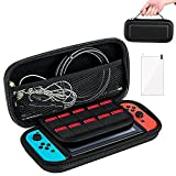 Nintendo Switch Case,Protective Hard Shell Traveler Carrying Case Compatible with Nintendo Switch with Screen Protector and Game Cartridge Holder for Nintendo Switch Console & Accessories(Black)