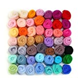 wet wool felting kits - MOMODA 4336906521 50 Colors Fibre Wool Yarn Roving for Needle Felting Hand Spinning DIY Craft Materials