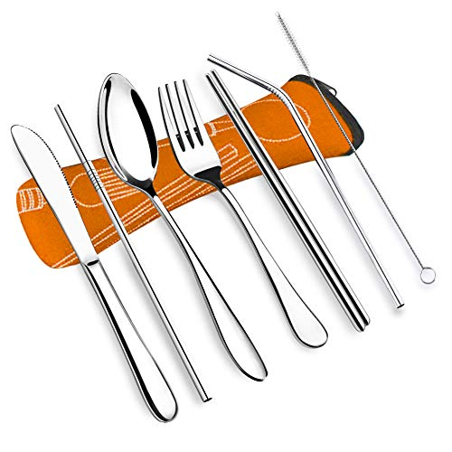 - VICBAY 7psc Reusable Lunch Cutlery Set, Stainless Steel Straws with Brush, Travel Camping Flatware Set Utensils, Drinking Metal Straws for Tumblers Beverage (Orange)