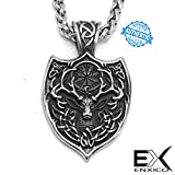 ENXICO Elk Shield Pendant Necklace with Celtic Knot Pattern and Helm of Awe The Aegishjalmur Symbol♦ 316L Stainless Steel ♦ Nordic Scandinavian Viking Deer Jewelry