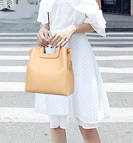 Leather with Women's Handbags Vintage Winter Yiiquan Bags Beige Strap Simple Crossbody PU Yellow Tote Stylish FTTgwxA