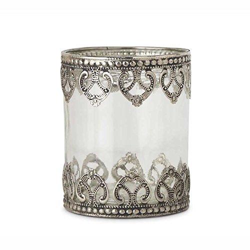 K&K Interiors Clear Glass Cylinder Votive Holder with Metal Filigree, ()