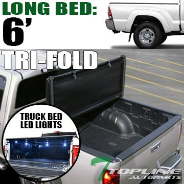 Cab Long Bed Snap (Topline Autopart Tri Fold Soft Vinyl Tonneau Cover & Truck Bed LED Lighting System For 16-17 Toyota Tacoma Access ( Extended ) / Double ( Crew ) Cab 6 Feet ( 72