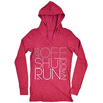 Gone For a Run Women's Running Lightweight Performance Hoodie Log Off Shut Down (Stacked) Adult Small Red