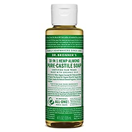 Dr. Bronner's Pure-Liquid Castile Soap - Almond, 4 Oz 53 ALMOND. Warm, comforting and slightly sweet - like marzipan or amaretto! Our Almond Pure-Castile Liquid Soap is concentrated, biodegradable, versatile and effective SMOOTH AND MOISTURIZING. Dr. Bronner's Liquid Pure-Castile Soap offers organic and vegan ingredients for a rich, emollient lather and a moisturizing after feel. It uses organic hemp, olive, and coconut oil to nourish your clean, healthy skin Made with organic and certified fair trade ingredients, packaged in a 100% post-consumer recycled bottle