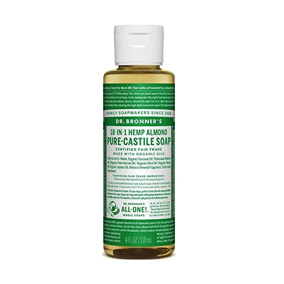 Dr. Bronner's - Pure-Castile Liquid Soap (Almond, 4 Ounce)- Made with Organic Oils, 18-in-1 Uses: Face, Body, Hair, Laundry, Pets and Dishes, Concentrated, Vegan, Non-GMO 1 MADE WITH ORGANIC OILS and CERTIFIED FAIR TRADE INGREDIENTS: Dr. Bronner's Pure-Castile Liquid Soaps are made with over 90% organic ingredients. Over 70% of ingredients are certified fair trade, meaning ethical working conditions and fair prices. GOOD FOR YOUR BODY and THE PLANET: Dr. Bronner's liquid soaps are fully biodegradable and use all-natural, vegan ingredients that pose no threat to the environment. Our products and ingredients are never tested on animals and are cruelty-free. NO SYNTHETIC PRESERVATIVES, DETERGENTS, OR FOAMING AGENTS: Our liquid soaps are made with plant-based ingredients you can pronounce—no synthetic preservatives, thickeners, or foaming agents—which is good for the environment and great for your skin!