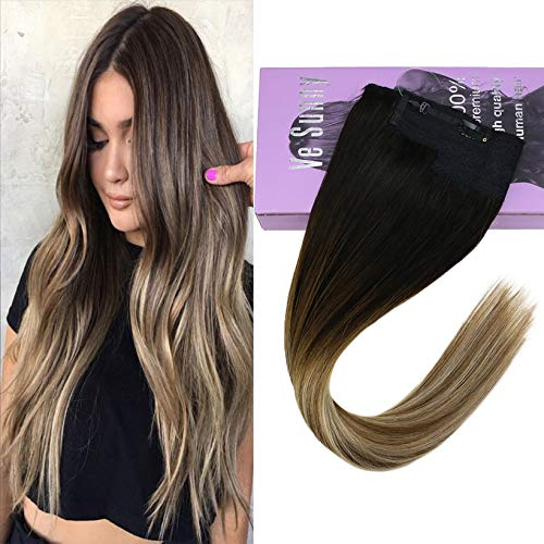 VeSunny Remy Real Halo Wire Balayage Human Hair Hidden Secret Wire Darkest Brown Ombre Medium Brown Mix Light Blonde Hairpiece with Clips Wire Human Extensions Halo Hair 100G 11Inch Width