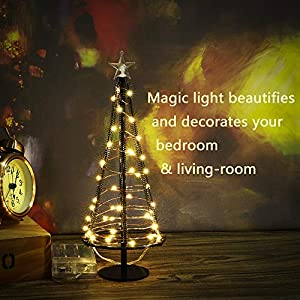 HONESTY Metallic Lamp,Lovely Little Tree Lights,Trees with Flat Plate and Battery House Outside for Indoor, Warm White LEDs on Copper Wire 4