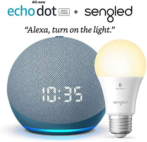 All-new Echo Dot (4th Gen) with clock - Twilight Blue - package with Sengled Bluetooth bulb (Certified for Humans product)