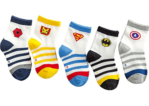 Price comparison product image PenGreat Kids Toddler Boy's Fashion Cartoon Super Men Stripe Crew Socks 5 Pairs