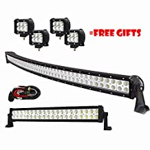 Serpeo 50 Inch 288W Curved LED Light Bar Flood Spot Combo Beam IP68 Waterproof with a 120W Straight Led Light Bar and 4 Pcs CREE Pods for SUV ATV Jeep Boat Offroad 4WD