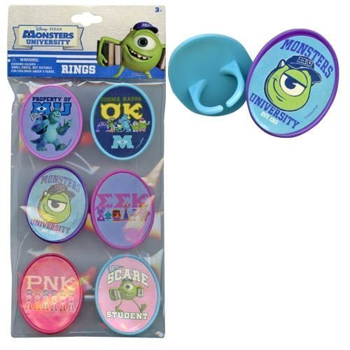 Monsters University 6pk Cupcake Topper Rings with Sticker on Plastic Insert