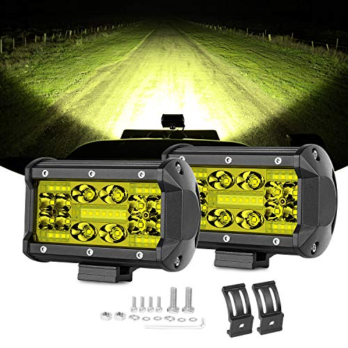 (Yellow LED Pods Swatow Industries 2PCS 140W 3000K 5 Inch LED Light Bar Amber LED Fog Lights Offroad Spot Flood Combo Driving Lights Square Work Lights for Truck Jeep ATV UTV Tractor Boat Waterproof )