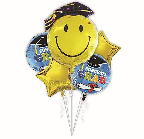 """Partigos 5pack 18 Inchs Blue Congrats Grad Mylar Balloons decoration & 36"""" Graduation Smiley Balloon in Cap for Photo Prop Party Supplies"""