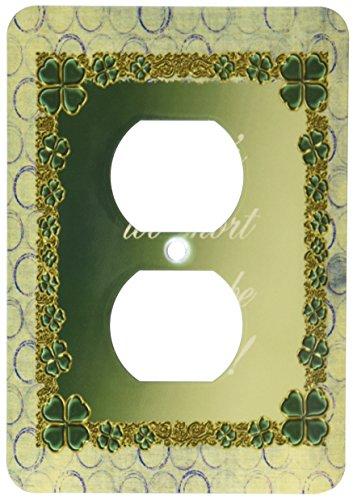 3dRose lsp_180856_6 Jewel Look Four Leaf Clover Circle Design Lifes Too Short Not to Be Irish Light Switch Cover (Light Switch Jeweled Cover)