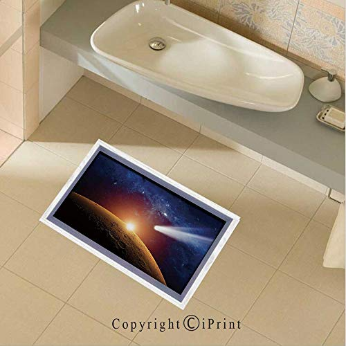 Floor Stickers Waterproof Safety Comet Tail Approaching Planet Mars Fantastic Star Cosmos Dark Solar System Scenery Wall Floor Decals Decor for Bathroom Kitchen Backsplash, 35.4x22.8Inch,Bue - System Hatchback