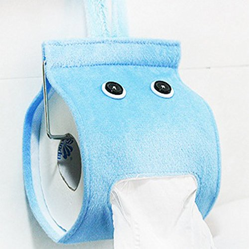 Honice Creative Hanging Tissue Holder Paper Holder Dispenser Cover Plush Cloth Toilet Paper Container Box (6 Colors Optional) (Blue)
