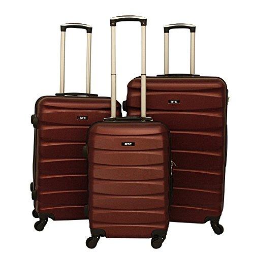 Hartschalen Reisekoffer QTC MAILAND A Trolley Case M L XL Reise Tasche Koffer (3´er Set (M+L+XL), Braun-Rot)
