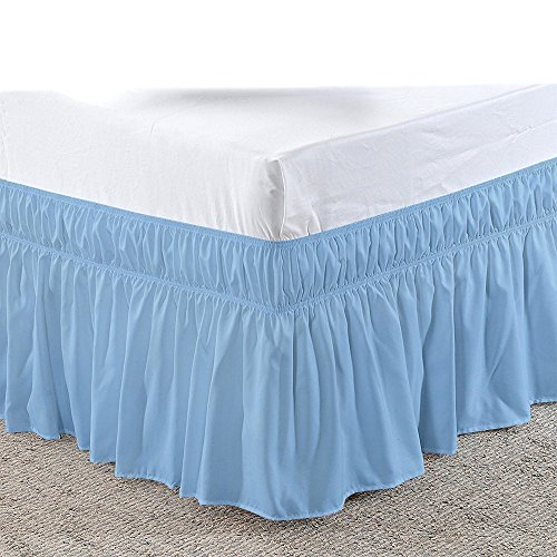 (Addy Home Three Sides Fabric Wrap Around Elastic Solid Bed Skirt, Easy On/Easy Off 100% Microfiber 600 TC Dust Ruffled Bed Skirts- Bed Wrap with 14 Inch Tailored Drop (Short Queen/Queen, Light Blue))