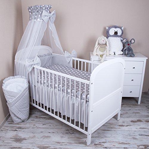 Baby Bettwäsche 5tlg Bettset mit Nestchen Kinderbettwäsche Himmel 100x135cm NEU Pünktchen grau Chiffonhimmel