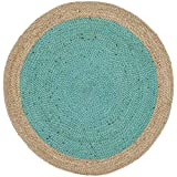 Safavieh Natural Fiber Collection NF801E Hand-Woven Teal and Natural Jute Round Area Rug (3′ in Diameter) Review