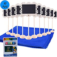 Mini Chalkboard Signs With Stand Chalk And Cleaning Cloth For Message Board Signs Wedding Party Table Numbers Place Card Decorative Sign 12 Piece Set (wood style 5)