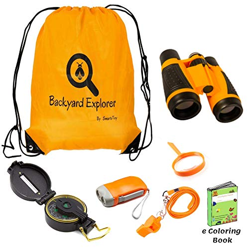 Kids Outdoor Explorer Kit with Binoculars, Flashlight, Compass, Whistle, Magnifying Glass, Backpack - Perfect Children Toy , Spy Kit for kids, Camping gear, Hiking, Educational Spy Pretend Play