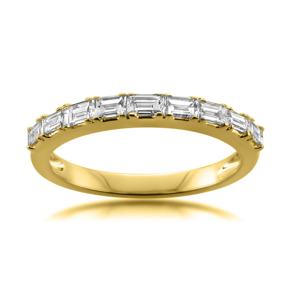 14k Yellow Gold Baguette Diamond Bridal Wedding Band Ring (1/2 cttw, I-J, VS2-SI1), Size 7.5