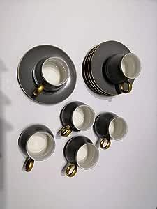 طقم أكواب قهوة 12 قطعة سعة 180 مل رمادي