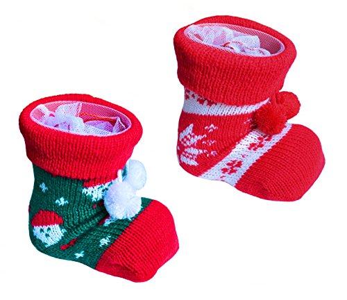 * 2er Set Nikolausstiefel Weihnachtsstiefel mit Strumpfüberzug und ausstellbarem Netz