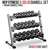 Cheap Rep Fitness Rep 5-50 lb Rubber Hex Dumbbell Set with Rack and Free Rubber Mat