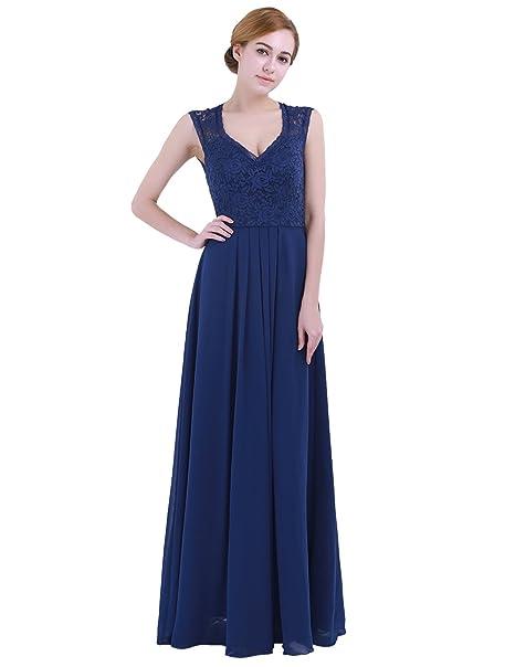 iEFiEL Vestido de Noche Boda Fiesta Ceremonia Cóctel Mujer Encaje Dama de Honor Verano Fresco Azul