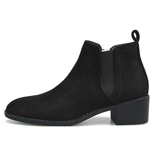 Botas Chelsea para Mujer Botines Planos De Gamuza Banda Elástica Bloqueado Tacones Botas Cortas Botas De Tacón Bajo Oficina De Compras: Amazon.es: Zapatos y ...
