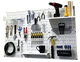 Wall Control 30-WRK-400 WW Pegboard Organizer 4' Metal Standard Tool Storage Kit with White Tool Board and White Accessories