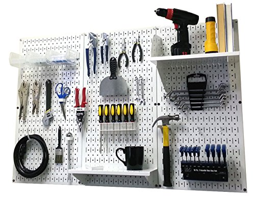 Pegboard Organizer Wall Control 4 ft. Metal Pegboard Standard Tool Storage Kit with White Toolboard and White Accessories