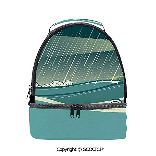 SCOCICI Large Capacity Durable Material Lunch Box Lighthouse Seascape in Raining Night Tower Stormy Weather Light Navigation Multipurpose Adjustable Lunch Bag