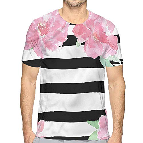 (Funny t Shirt Floral,Watercolor Style Peonies Men's and Women's t Shirt M)