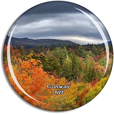 Conway Kancamagus Highwayニューハンプシャー米国冷蔵庫マグネット3Dクリスタルガラス観光都市旅行お土産コレクションギフト強い冷蔵庫ステッカー