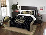 2pc NCAA Purdue Boilermakers Full/Queen Comforter Set, Polyester, College Football Themed, Purdue Merchandise, Sports Patterned Bedding, Black, Team Spirit, Team Logo